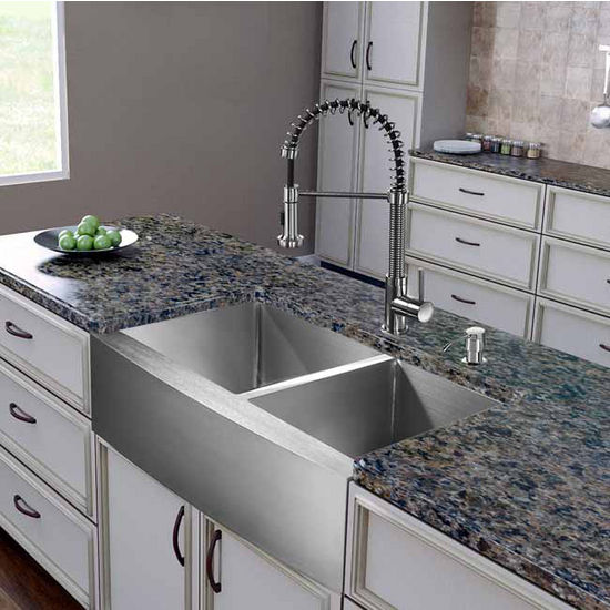 "Vigo All in One 36"" Farmhouse Stainless Steel Double Bowl Kitchen Sink and Faucet Set, VIG-VG15264"