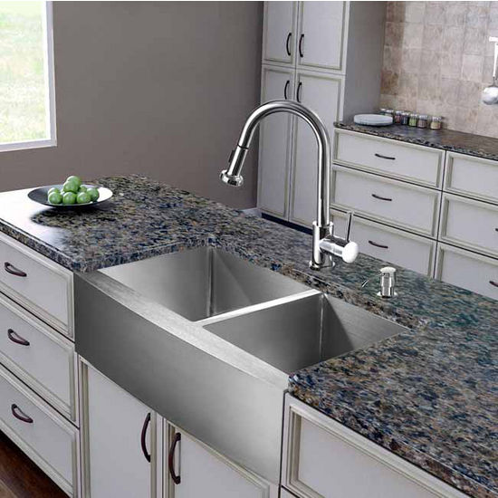 "Vigo All in One 36"" Farmhouse Stainless Steel Double Bowl Kitchen Sink and Chrome Faucet Set, VIG-VG15265"