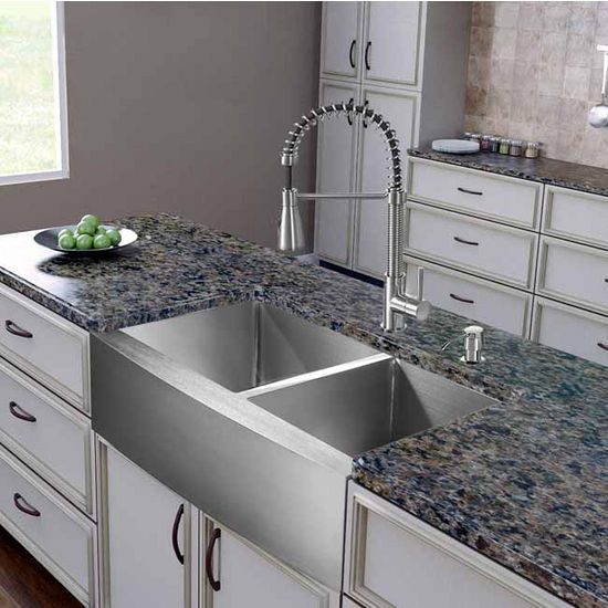 "Vigo All in One 36"" Farmhouse Stainless Steel Double Bowl Kitchen Sink and Faucet Set, VIG-VG15266"