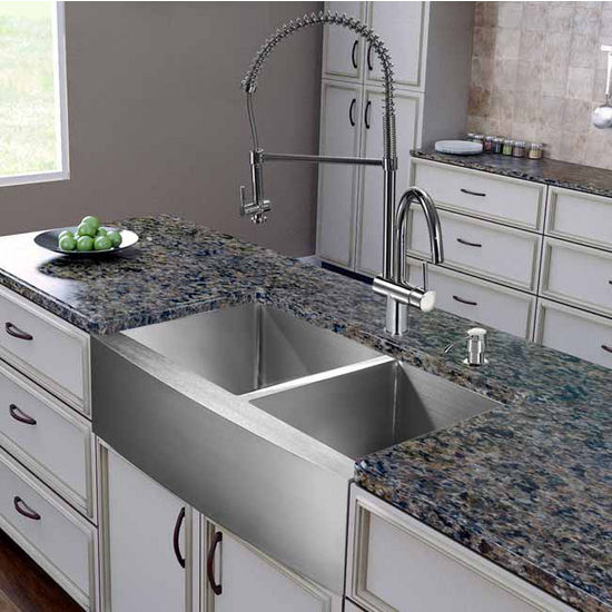 "Vigo All in One 36"" Farmhouse Stainless Steel Double Bowl Kitchen Sink and Chrome Faucet Set, VIG-VG15267"