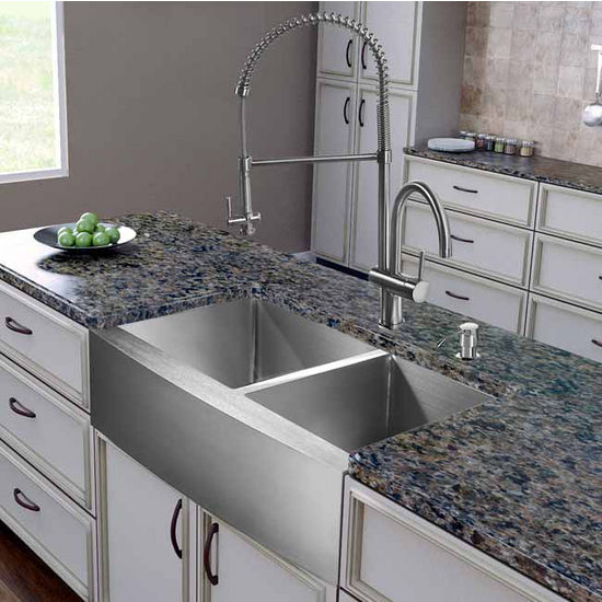"Vigo All in One 36"" Farmhouse Stainless Steel Double Bowl Kitchen Sink and Faucet Set, VIG-VG15268"