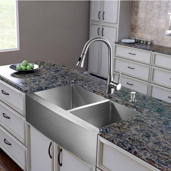 "Vigo All in One 36"" Farmhouse Stainless Steel Double Bowl Kitchen Sink and Faucet Set, VIG-VG15271"