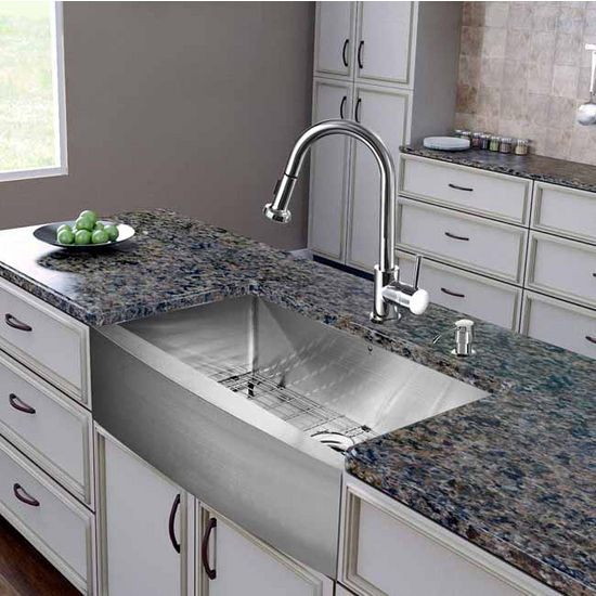 "Vigo All in One 30"" Farmhouse Stainless Steel Kitchen Sink and Chrome Faucet Set, VIG-VG15273"