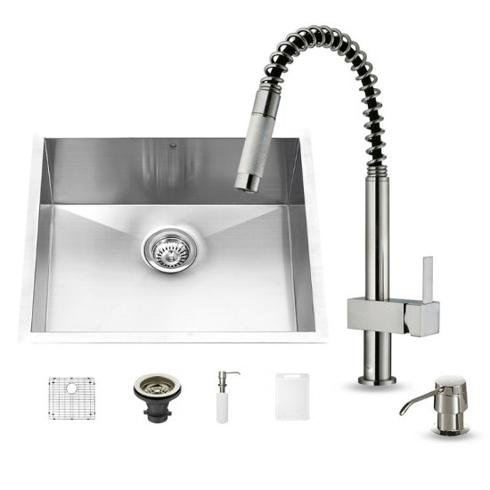 "Vigo 23"" W Undermount Stainless Steel Kitchen Sink, 19 1/2"" H Faucet (9 3/4"" Spout Reach) and Dispenser"
