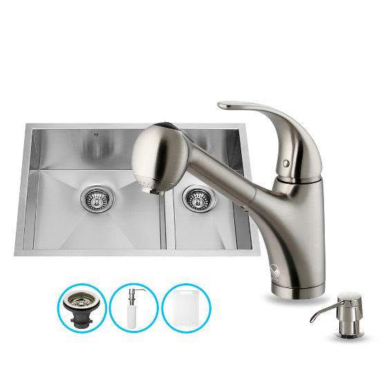 "Vigo 29"" W Undermount Double Bowl Stainless Steel Kitchen Sink, 9 1/4"" H Faucet (8-7/8"" Spout Reach) and Dispenser"