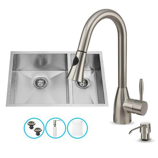 "Vigo Undermount Stainless Steel 29""W Double Bowl Kitchen Sink, Faucet and Dispenser"
