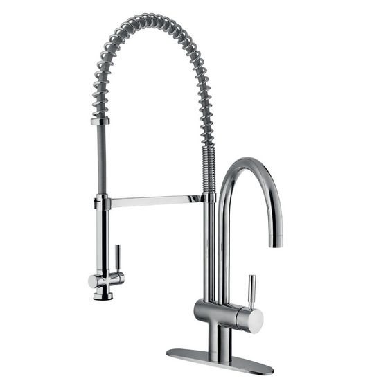 Vigo Pull-Down Spray Kitchen Faucet with Deck Plate, Chrome Finish