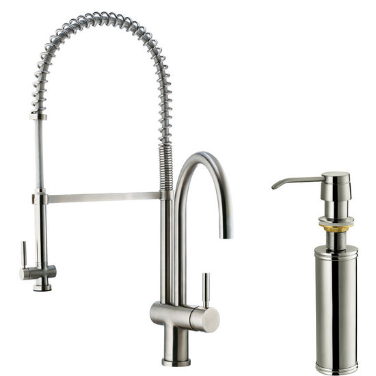 Vigo Pull-Down Spray Kitchen Faucet with Soap Dispenser, Stainless Steel Finish