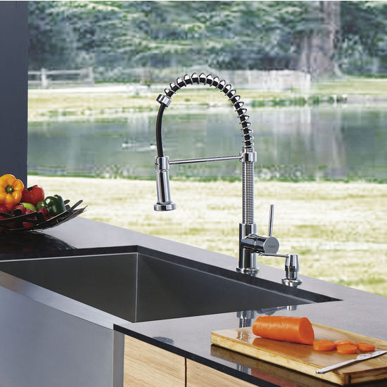Vigo Pull-Out Spray Kitchen Faucet with Soap Dispenser, Chrome Finish