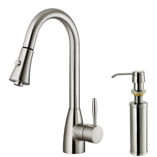 Vigo Pull Out Spray Kitchen Faucet With Soap Dispenser Stainless Steel Finish