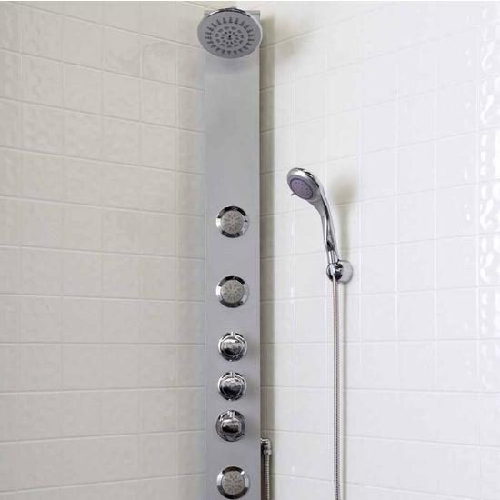 Vigo Shower Massage Panel with Rain Shower Head and Multi-Function Hand Held Shower, Satin Extruded Aluminum