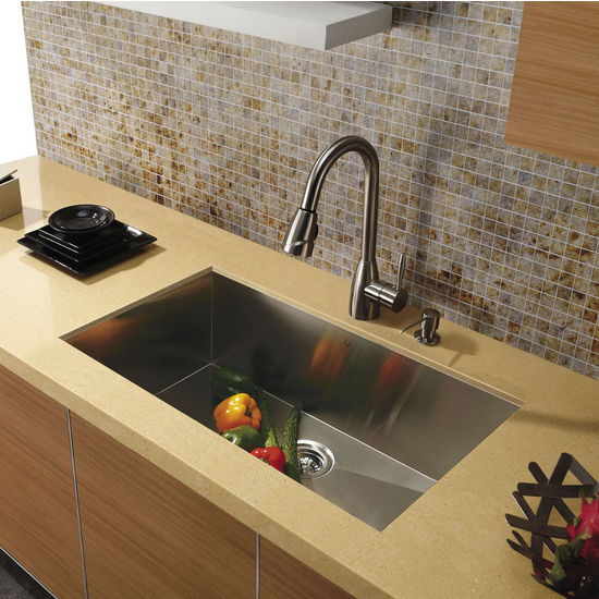 "Vigo 30"" Undermount 16 Gauge Single Bowl Kitchen Sink, Stainless Steel Finish"