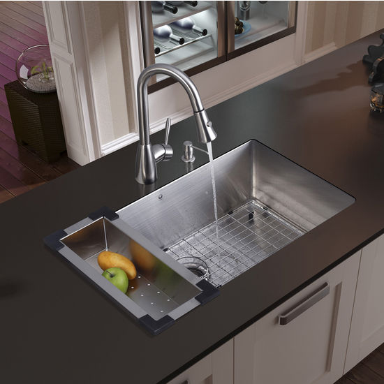 "Vigo Undermount Kitchen Sink, 15-3/4""H Faucet, Colander, Grid, Strainer and Dispenser, Stainless Steel Finish"
