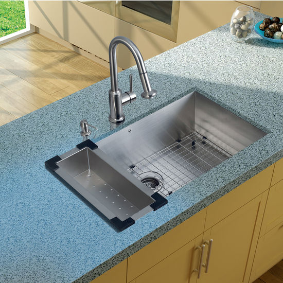 "Vigo Undermount Kitchen Sink, 16-1/2""H Faucet, Colander, Grid, Strainer and Dispenser, Stainless Steel Finish"
