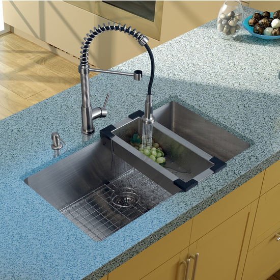 "Vigo Undermount Kitchen Sink with Curved Corners, 18-3/4""H Faucet, Colander, Grid, Strainer and Dispenser, Stainless Steel Finish"