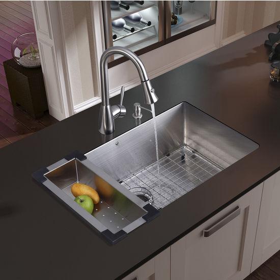 """Vigo Undermount Kitchen Sink, 15-3/4""""H Faucet, Colander, Grid, Strainer and Dispenser, Stainless Steel Finish"""