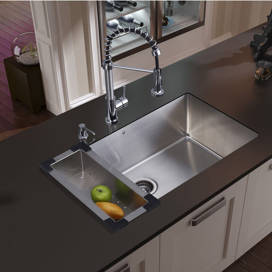 Vigo Undermount Kitchen Sink, Faucet, Colander, Strainer and Dispenser, Stainless Steel Finish