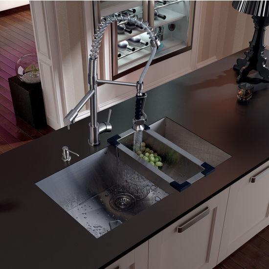 """Vigo Undermount Kitchen Sink, 27""""H Faucet, Colander, Strainer and Dispenser, Stainless Steel Finish"""