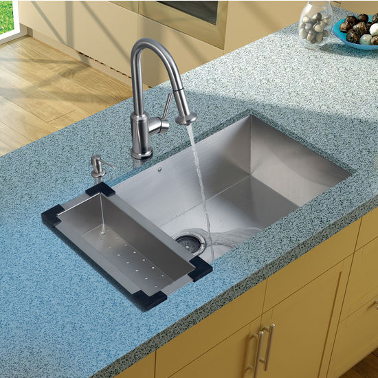 "Vigo Undermount Kitchen Sink, 16-1/2""H Faucet, Colander, Strainer and Dispenser, Stainless Steel Finish"
