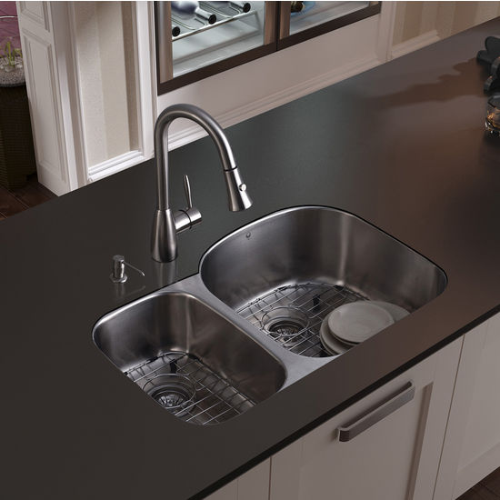 "Vigo Undermount Kitchen Sink with Small Bowl on Left, 15-3/4""H Faucet, Two Grids, Two Strainers and Dispenser, Stainless Steel Finish"