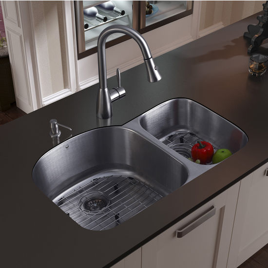 "Vigo Undermount Kitchen Sink with Small Bowl on Right, 15-3/4""H Faucet, Two Grids, Two Strainers and Dispenser, Stainless Steel Finish"