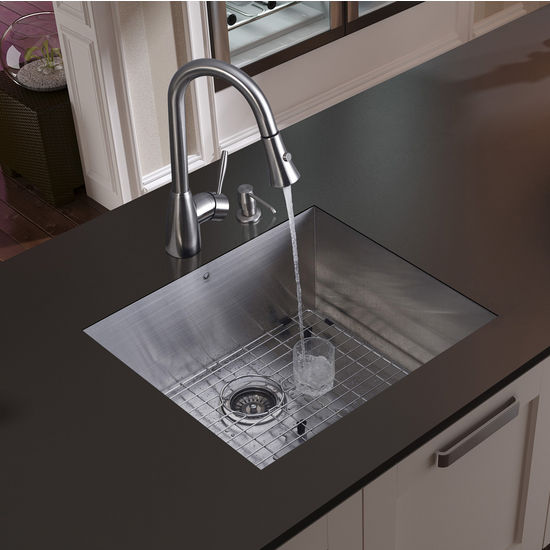 "Vigo Undermount Kitchen Sink, 15-3/4""H Faucet, Grid, Strainer and Dispenser, Stainless Steel Finish"