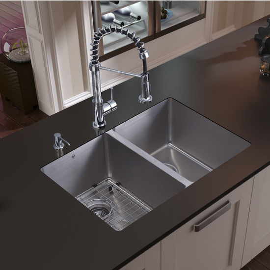 "Vigo Undermount Kitchen Sink with Curved Corners, 18-3/4""H Faucet, Grid, Two Strainers and Dispenser, Stainless Steel Finish"