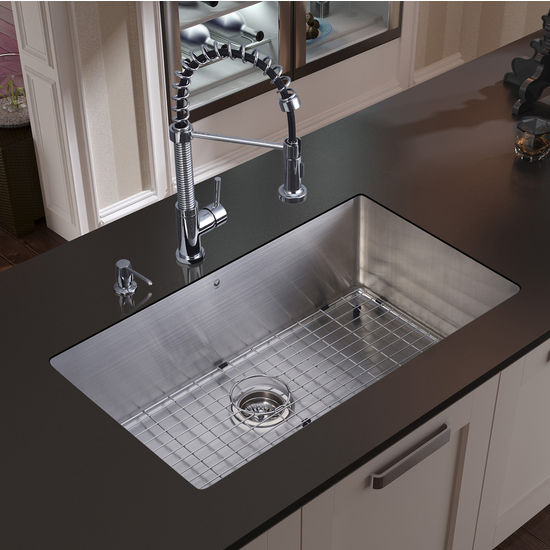 Vigo Undermount Kitchen Sink, Faucet, Grid, Strainer and Dispenser, Stainless Steel Finish