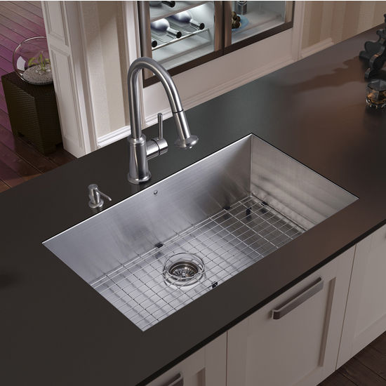 "Vigo Undermount Kitchen Sink, 16-1/2""H Faucet, Grid, Strainer and Dispenser, Stainless Steel Finish"