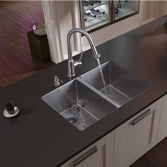 "Vigo Undermount Kitchen Sink, 16-1/2""H Faucet, Grid, Two Strainers and Dispenser, Stainless Steel Finish"