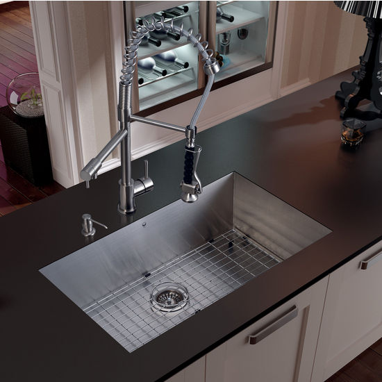 "Vigo Undermount Kitchen Sink, 27""H Faucet, Grid, Strainer and Dispenser, Stainless Steel Finish"