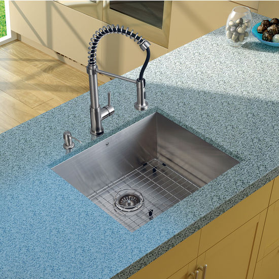 "Vigo Undermount Kitchen Sink, 18-3/4""H Faucet, Grid, Strainer and Dispenser, Stainless Steel Finish"