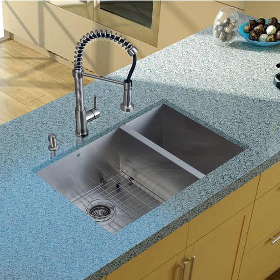 """Vigo Undermount Kitchen Sink, 18-3/4""""H Faucet, Grid, Two Strainers and Dispenser, Stainless Steel Finish"""