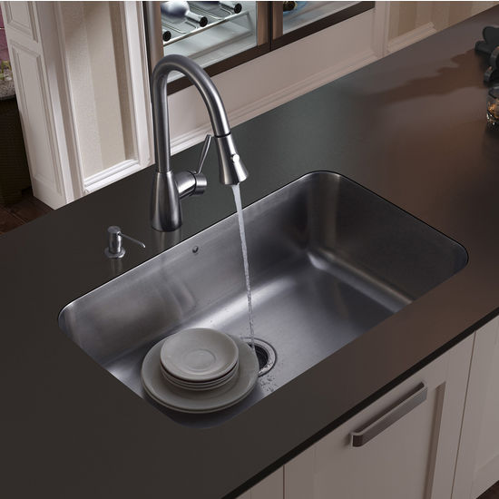 "Vigo Undermount Kitchen Sink, 15-3/4""H Faucet, Strainer and Dispenser, Stainless Steel Finish"