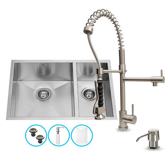 Vigo Undermount Kitchen Sink, Faucet, Two Strainers and Dispenser, Stainless Steel Finish