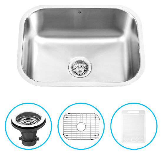 "Vigo 23"" Undermount Kitchen Sink, Grid and Strainer, Stainless Steel Finish"