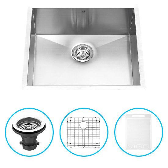 """Vigo 23"""" Undermount Kitchen Sink, Grid and Strainer, Stainless Steel Finish"""
