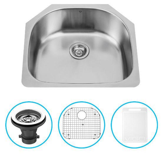 """Vigo 24"""" Undermount Kitchen Sink, Grid and Strainer, Stainless Steel Finish"""