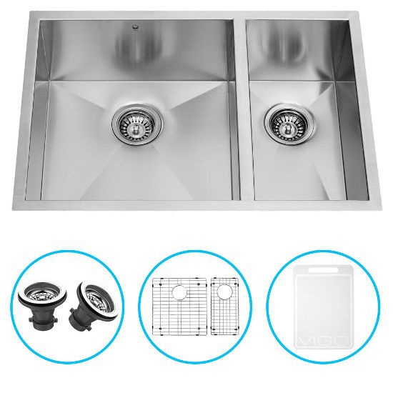 "Vigo 29"" Undermount Kitchen Sink, Two Grids and Two Strainers, Stainless Steel Finish"