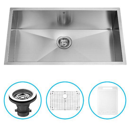 """Vigo 30"""" Undermount Kitchen Sink, Grid and Strainer, Stainless Steel Finish"""