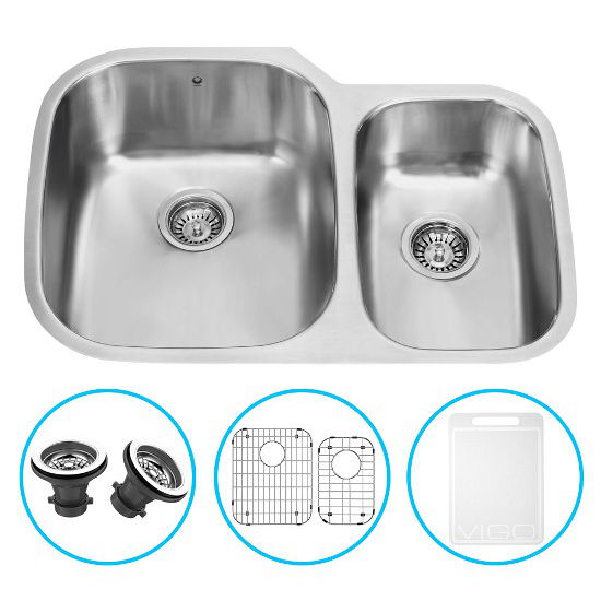 "Vigo 30"" Undermount Kitchen Sink, Grid and Two Strainers, Stainless Steel Finish"