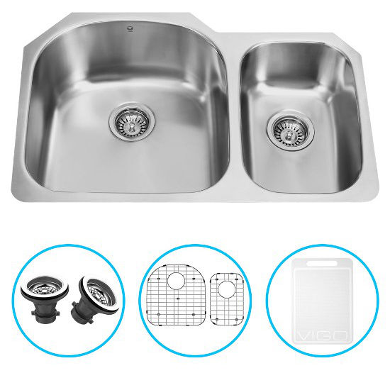 "Vigo 31"" Undermount Kitchen Sink with Small Bowl on Right, Two Grids and Two Strainers, Stainless Steel Finish"