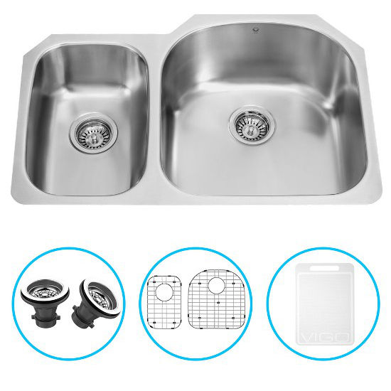 "Vigo 31"" Undermount Kitchen Sink with Small Bowl on Left, Two Grids and Two Strainers, Stainless Steel Finish"