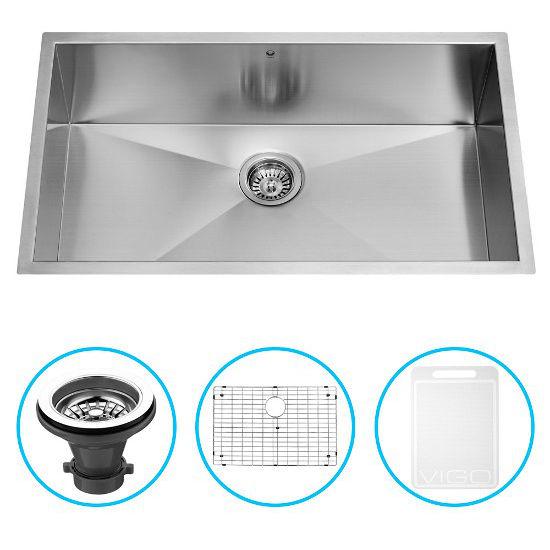"""Vigo 32"""" Undermount Kitchen Sink, Grid and Strainer, Stainless Steel Finish"""