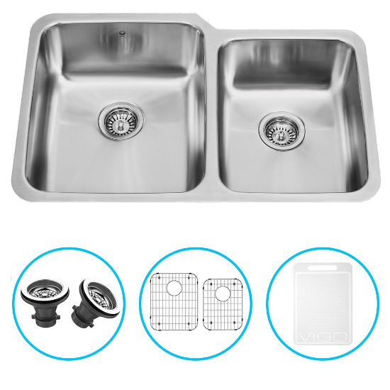 "Vigo 32"" Undermount Kitchen Sink with Small Bowl on Right, Two Grids and Two Strainers, Stainless Steel Finish"