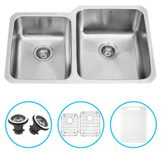 "Vigo 32"" Undermount Kitchen Sink with Small Bowl on Left, Two Grids and Two Strainers, Stainless Steel Finish"