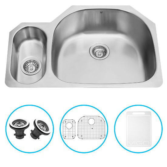 "Vigo 32"" Undermount Kitchen Sink, Grid and Two Strainers, Stainless Steel Finish"