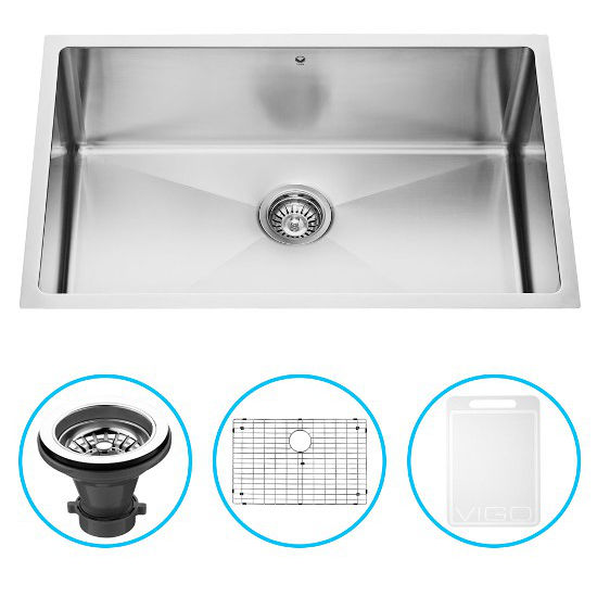 "Vigo 30"" Undermount Kitchen Sink with Curved Corners, Grid and Strainer, Stainless Steel Finish"