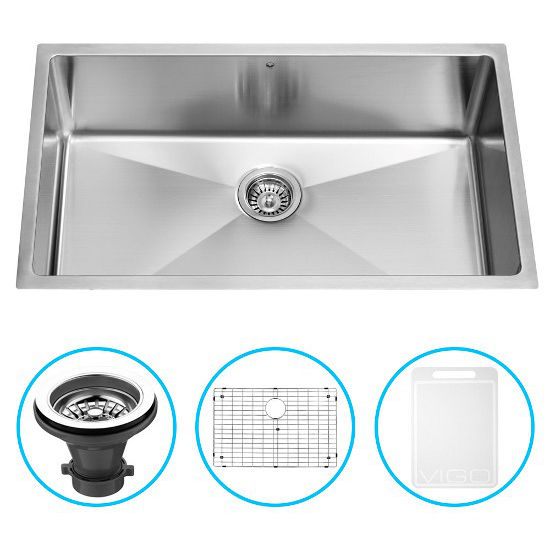 """Vigo 32"""" Undermount Kitchen Sink with Curved Corners, Grid and Strainer, Stainless Steel Finish"""
