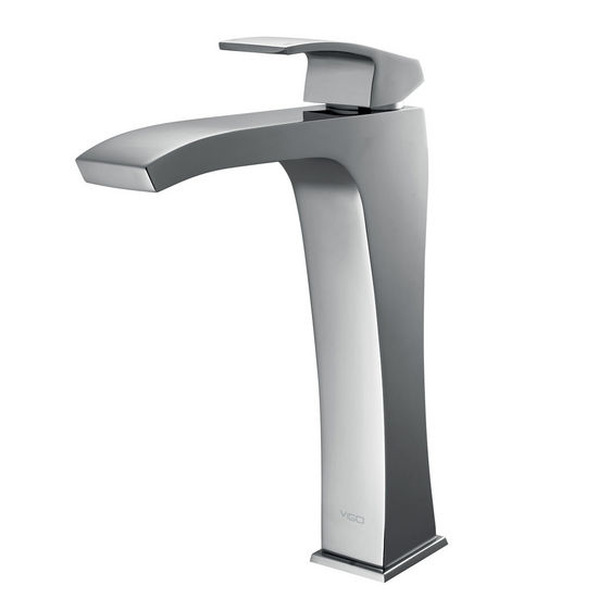 Vigo Blackstonian Vessel Faucet, Chrome Finish